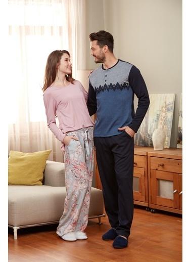 Eros O Yaka Uzun Kollu Pijama Takımı Pembe
